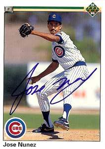 Jose Nunez Autograph on a 1990 Upper Deck (#716)