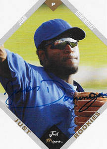 Juan Dominguez Autograph on a 2003 Just Minors Rookies Baseball Card (#14)