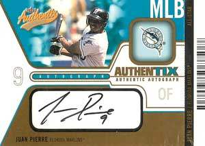 Juan Pierre Autograph on a 2003 Fleer Authentix Baseball Card (#AA-JP)