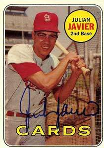 Julian Javier Autograph on a 1969 Topps Baseball Card (#497 | <a href='../baseball_cards/baseball_cards_oneset.php?s=1969top01' title='1969 Topps Baseball Card Checklist'>Checklist</a>)