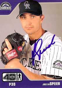 Justin Speier Autograph on a 2002 Upper Deck (#1004)