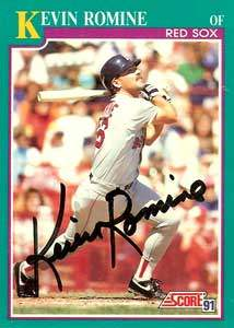 Kevin Romine Autograph on a 1991 Score Baseball Card (#116 | <a href='../baseball_cards/baseball_cards_oneset.php?s=1991sco01' title='1991 Score Baseball Card Checklist'>Checklist</a>)