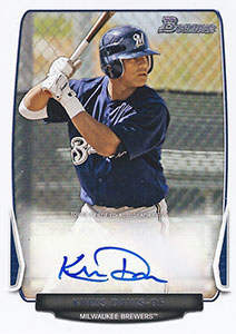Khris Davis Autograph on a 2013 Bowman Baseball Card (#BPA-KD)