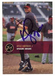 Kyle Snyder Autograph on a 2000 Just Memorabilia Baseball Card (#192)