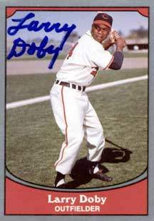Larry Doby Autograph on a 1990 Pacific Legends Baseball Card (#20 | <a href='../baseball_cards/baseball_cards_oneset.php?s=1990pac02' title='1990 Pacific Legends Baseball Card Checklist'>Checklist</a>)