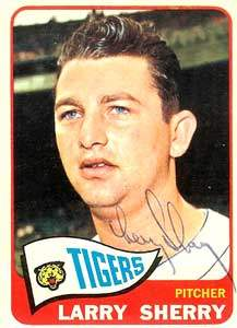 Larry Sherry Autograph on a 1965 Topps (#408)