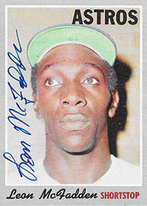 Leon McFadden Autograph on a 1970 Topps Baseball Card (#672 | <a href='../baseball_cards/baseball_cards_oneset.php?s=1970top01' title='1970 Topps Baseball Card Checklist'>Checklist</a>)