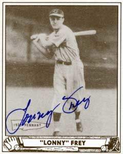 Lonny Frey Autograph on a 1940 Play Ball Reprint (#76 | <a href='../baseball_cards/baseball_cards_oneset.php?s=1940pla02' title='1940 Play Ball Reprint Baseball Card Checklist'>Checklist</a>)