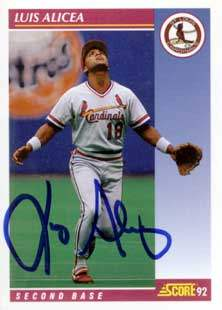 Luis Alicea Autograph on a 1992 Score Baseball Card (#607)