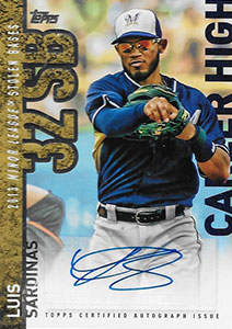 Luis Sardinas Autograph on a 2015 Topps Career High Baseball Card (#CHA-LS)