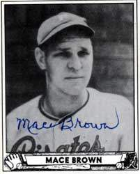 Mace Brown Autograph on a 1940 Play Ball Reprint (#230 | <a href='../baseball_cards/baseball_cards_oneset.php?s=1940pla02' title='1940 Play Ball Reprint Baseball Card Checklist'>Checklist</a>)