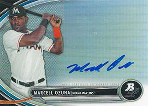 Marcell 'The Big Bear' Ozuna Autograph on a 2013 Bowman Platinum Baseball Card