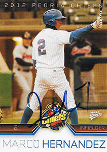 Marco Hernandez Autograph on a 2012 Multi-Ad Baseball Card (#12 of 30)