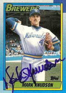 Mark Knudson Autograph on a 1990 Topps (#566)