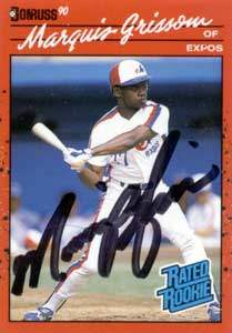Marquis Grissom Autograph on a 1990 Donruss (#36)