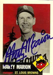 Marty 'Slats' Marion Autograph on a 1991 Topps Archives Baseball Card (#302 | <a href='../baseball_cards/baseball_cards_oneset.php?s=1991top05' title='1991 Topps Archives Baseball Card Checklist'>Checklist</a>)