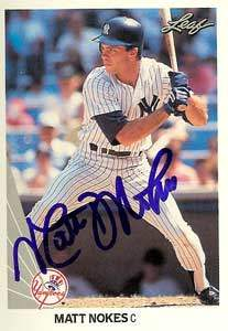 Matt Nokes Autograph on a 1990 Leaf (#314)