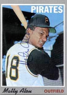 Matty Alou Autograph on a 1970 Topps Baseball Card (#30 | <a href='../baseball_cards/baseball_cards_oneset.php?s=1970top01' title='1970 Topps Baseball Card Checklist'>Checklist</a>)