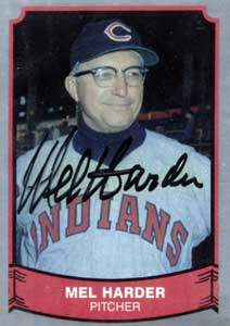 Mel Harder Autograph on a 1989 Pacific Trading Baseball Card (#205)