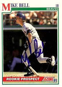 Mike Bell Autograph on a 1991 Score Baseball Card (#375 | <a href='../baseball_cards/baseball_cards_oneset.php?s=1991sco01' title='1991 Score Baseball Card Checklist'>Checklist</a>)