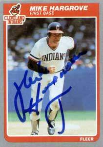 Mike 'The Human Rain Delay' Hargrove Autograph on a 1985 Topps Baseball Card (#450 | <a href='../baseball_cards/baseball_cards_oneset.php?s=1985top06' title='1985 Topps Baseball Card Checklist'>Checklist</a>)