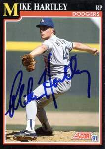 Mike Hartley Autograph on a 1991 Score Baseball Card (#252 | <a href='../baseball_cards/baseball_cards_oneset.php?s=1991sco01' title='1991 Score Baseball Card Checklist'>Checklist</a>)