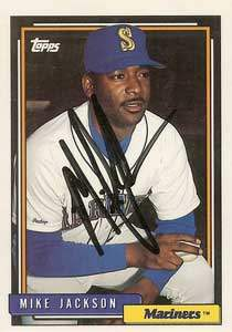 Mike Jackson Autograph on a 1992 Topps (#411)