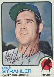 Mike Strahler Autograph on a 1973 Topps Baseball Card (#279)
