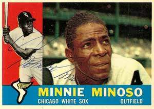 Minnie Minoso Autograph on a 1960 Topps Baseball Card (#365 | <a href='../baseball_cards/baseball_cards_oneset.php?s=1960top01' title='1960 Topps Baseball Card Checklist'>Checklist</a>)