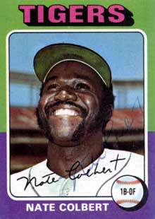 Nate Colbert Autograph on a 1975 Topps Baseball Card (#599 | <a href='../baseball_cards/baseball_cards_oneset.php?s=1975top01' title='1975 Topps Baseball Card Checklist'>Checklist</a>)