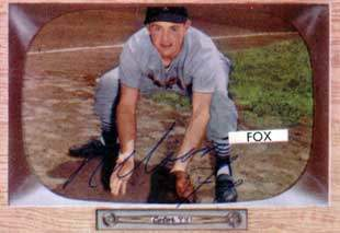 Nellie Fox Autograph on a 1955 Bowman Baseball Card (#33 | <a href='../baseball_cards/baseball_cards_oneset.php?s=1955bow01' title='1955 Bowman Baseball Card Checklist'>Checklist</a>)