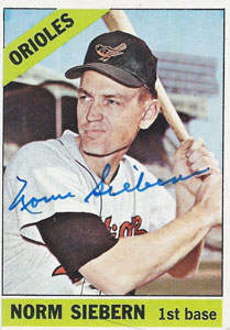 Norm Siebern Autograph on a 1966 Topps Baseball Card (#14 | <a href='../baseball_cards/baseball_cards_oneset.php?s=1966top01' title='1966 Topps Baseball Card Checklist'>Checklist</a>)