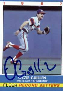 Ozzie Guillen Autograph on a 1987 Fleer Record Setters Baseball Card (#13)