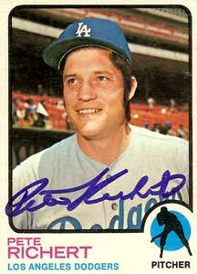 Pete Richert Autograph on a 1973 Topps Baseball Card (#239)