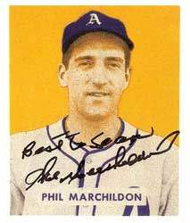 Phil Marchildon Autograph on a 1949 Bowman (#187)