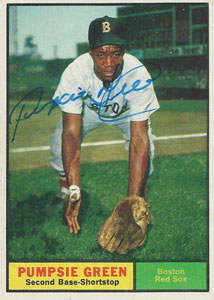Pumpsie Green Autograph on a 1961 Topps Baseball Card (#454 | <a href='../baseball_cards/baseball_cards_oneset.php?s=1961top01' title='1961 Topps Baseball Card Checklist'>Checklist</a>)