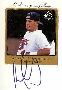 Ramon Hernandez Autograph on a 1998 Upper Deck SP Top Prospects (#RH)