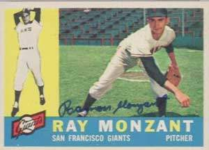 Ramon 'Ray' Monzant Autograph on a 1960 Topps Baseball Card  (#338 | <a href='../baseball_cards/baseball_cards_oneset.php?s=1960top01' title='1960 Topps Baseball Card Checklist'>Checklist</a>)