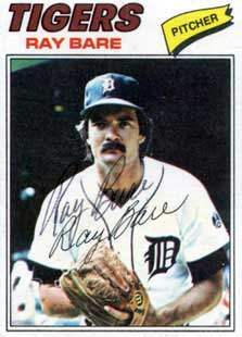Ray Bare Autograph on a 1977 Topps Baseball Card (#43 | <a href='../baseball_cards/baseball_cards_oneset.php?s=1977top01' title='1977 Topps Baseball Card Checklist'>Checklist</a>)