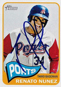 Renato Nunez Autograph on a 2014 Topps Baseball Card (#95)