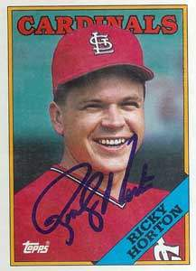 Ricky Horton Autograph on a 1988 Topps Baseball Card (#34 | <a href='../baseball_cards/baseball_cards_oneset.php?s=1988top08' title='1988 Topps Baseball Card Checklist'>Checklist</a>)