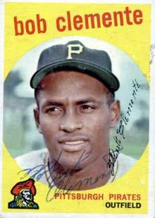 Roberto 'Arriba' Clemente Autograph on a 1959 Topps Baseball Card (#478 | <a href='../baseball_cards/baseball_cards_oneset.php?s=1959top01' title='1959 Topps Baseball Card Checklist'>Checklist</a>)