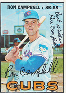 Ron Campbell Autograph on a 1967 Topps Baseball Card (#497 | <a href='../baseball_cards/baseball_cards_oneset.php?s=1967top01' title='1967 Topps Baseball Card Checklist'>Checklist</a>)