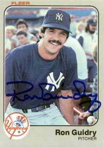 Ron 'Louisiana Lightning' Guidry Autograph on a 1983 Fleer Baseball Card (#383 | <a href='../baseball_cards/baseball_cards_oneset.php?s=1983fle01' title='1983 Fleer Baseball Card Checklist'>Checklist</a>)