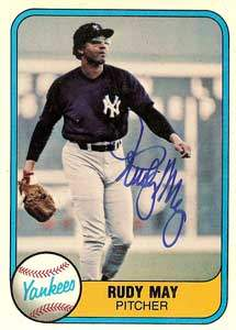 Rudy May Autograph on a 1981 Fleer (#90)