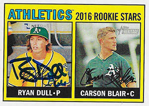 Ryan 'Dullsnacks' Dull Autograph on a 2016 Topps Heritage Baseball Card (#172)