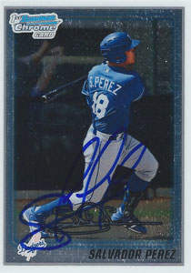 Salvador 'El Nino' Perez Autograph on a 2010 Bowman Chrome Baseball Card (#BCP124)