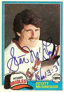 Scott McGregor Autograph on a 1981 Topps Baseball Card (#65 | <a href='../baseball_cards/baseball_cards_oneset.php?s=1981top03' title='1981 Topps Baseball Card Checklist'>Checklist</a>)