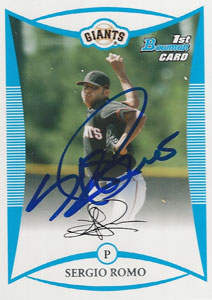 Sergio 'El Mechon' Romo Autograph on a 2008 Bowman Baseball Card (#BP4)