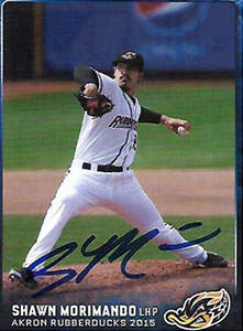 Shawn Morimando Autograph on a 2015 Akron RubberDucks Baseball Card